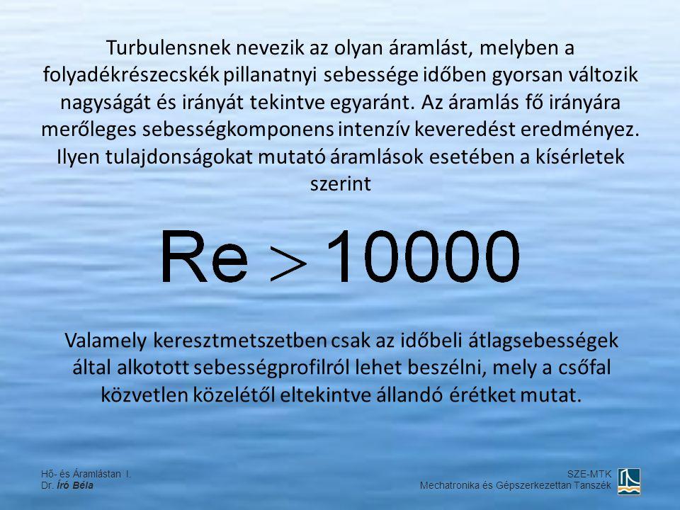 Turbulensnek nevezik az olyan áramlást, melyben a folyadékrészecskék pillanatnyi sebessége időben gyorsan változik nagyságát és irányát tekintve egyar
