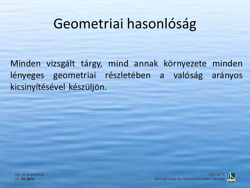 Geometriai hasonlóság Minden vizsgált tárgy, mind annak környezete minden lényeges geometriai részletében a valóság arányos kicsinyítésével készüljön.