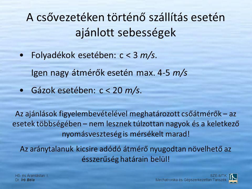 A csővezetéken történő szállítás esetén ajánlott sebességek Folyadékok esetében: c < 3 m/s. Igen nagy átmérők esetén max. 4-5 m/s Gázok esetében: c <