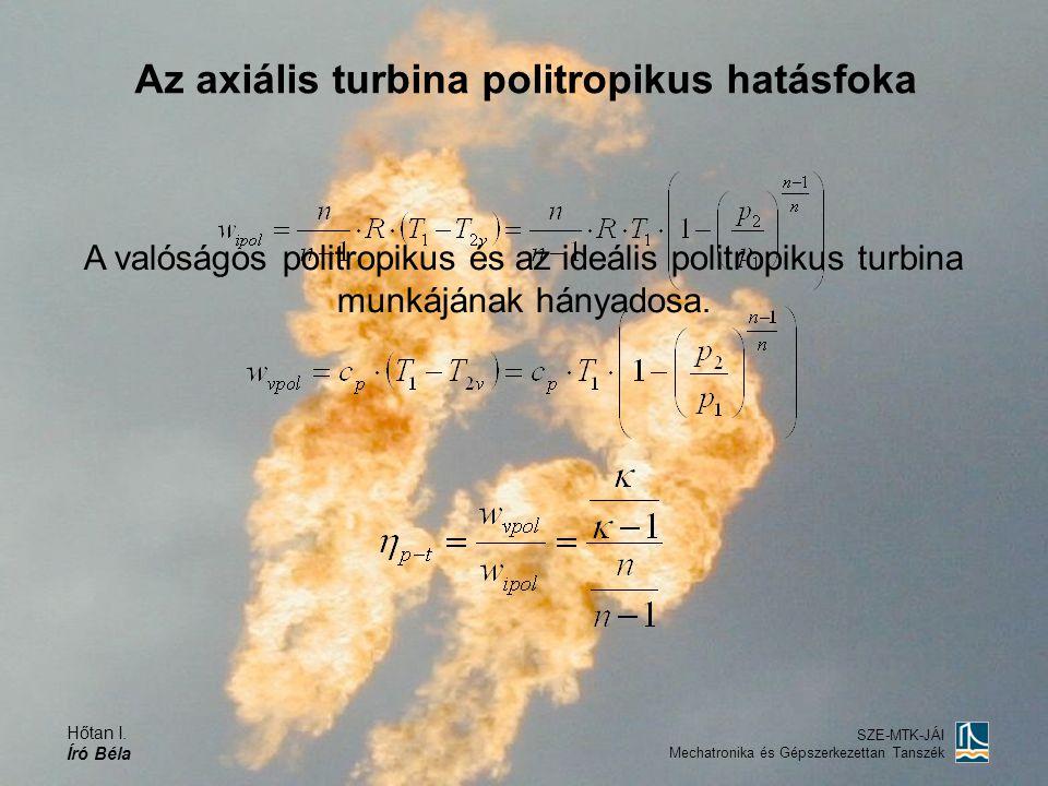 Hőtan I. Író Béla SZE-MTK-JÁI Mechatronika és Gépszerkezettan Tanszék Az axiális turbina politropikus hatásfoka A valóságos politropikus és az ideális