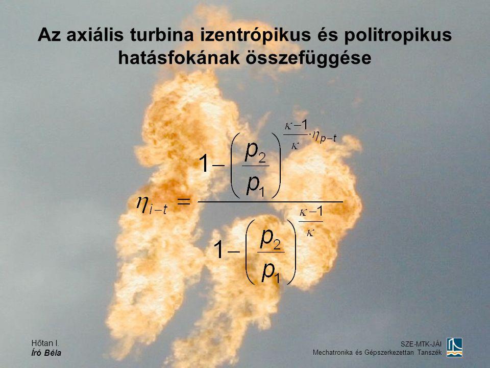 Hőtan I. Író Béla SZE-MTK-JÁI Mechatronika és Gépszerkezettan Tanszék Az axiális turbina izentrópikus és politropikus hatásfokának összefüggése