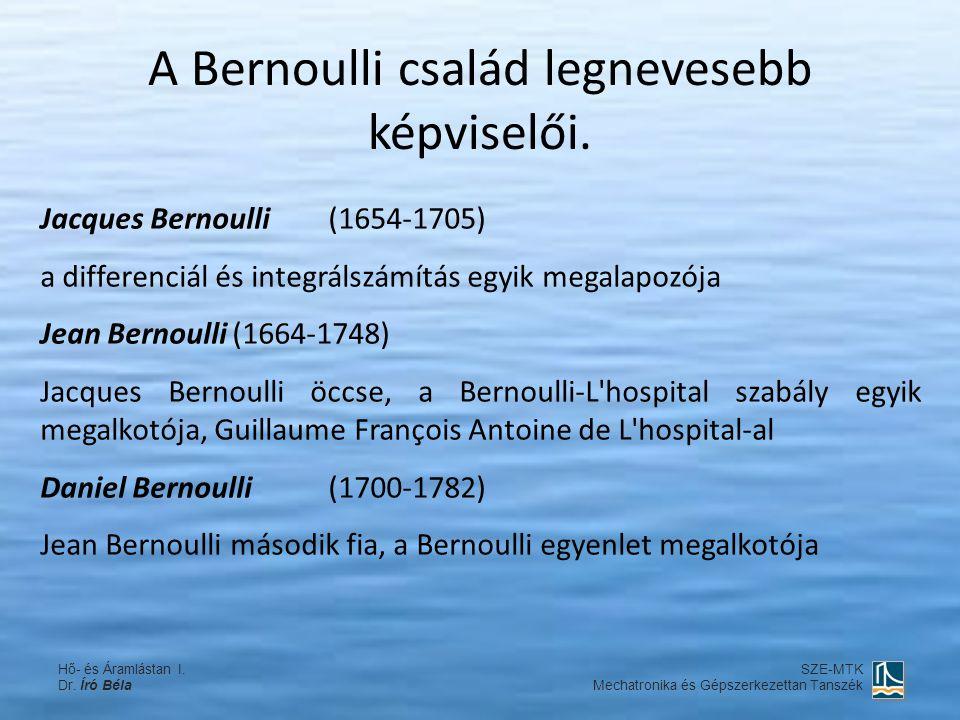 Jacques Bernoulli(1654-1705) a differenciál és integrálszámítás egyik megalapozója Jean Bernoulli(1664-1748) Jacques Bernoulli öccse, a Bernoulli-L'ho
