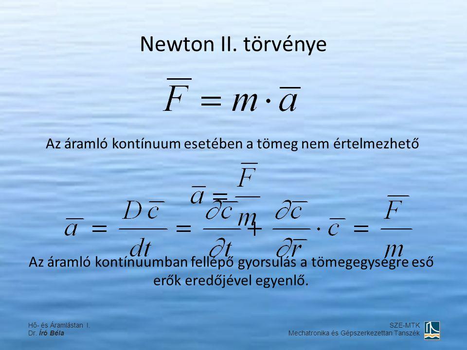Newton II. törvénye Az áramló kontínuum esetében a tömeg nem értelmezhető Az áramló kontínuumban fellépő gyorsulás a tömegegységre eső erők eredőjével