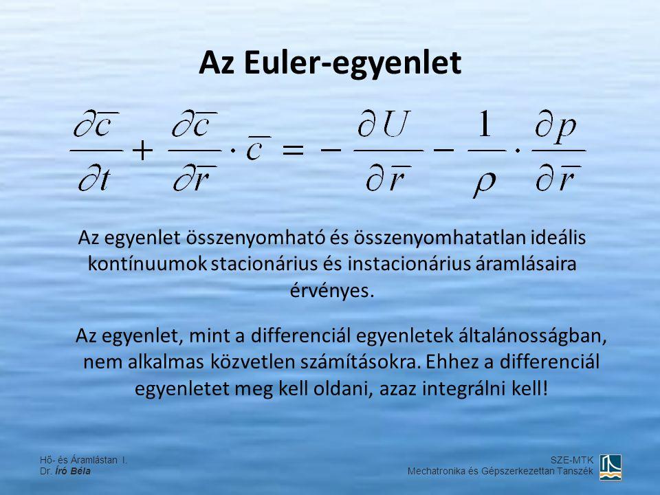 Az Euler-egyenlet Az egyenlet összenyomható és összenyomhatatlan ideális kontínuumok stacionárius és instacionárius áramlásaira érvényes. Az egyenlet,