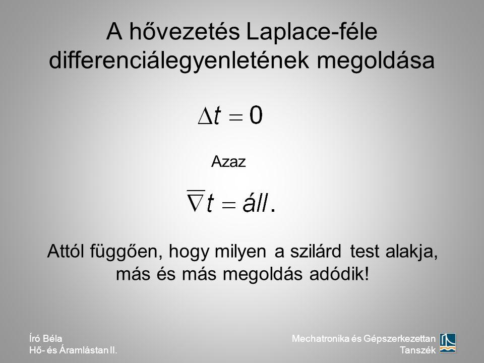 A hővezetés Laplace-féle differenciálegyenletének megoldása Azaz Attól függően, hogy milyen a szilárd test alakja, más és más megoldás adódik! Mechatr