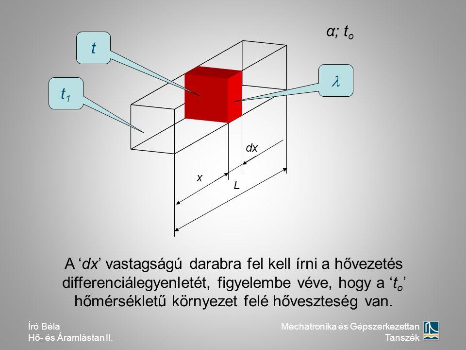 dx L α; t o t1t1 t x A 'dx' vastagságú darabra fel kell írni a hővezetés differenciálegyenletét, figyelembe véve, hogy a 't o ' hőmérsékletű környezet