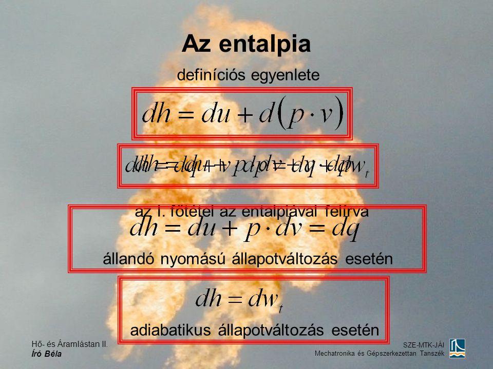 Hő- és Áramlástan II. Író Béla SZE-MTK-JÁI Mechatronika és Gépszerkezettan Tanszék Az entalpia definíciós egyenlete az I. főtétel az entalpiával felír