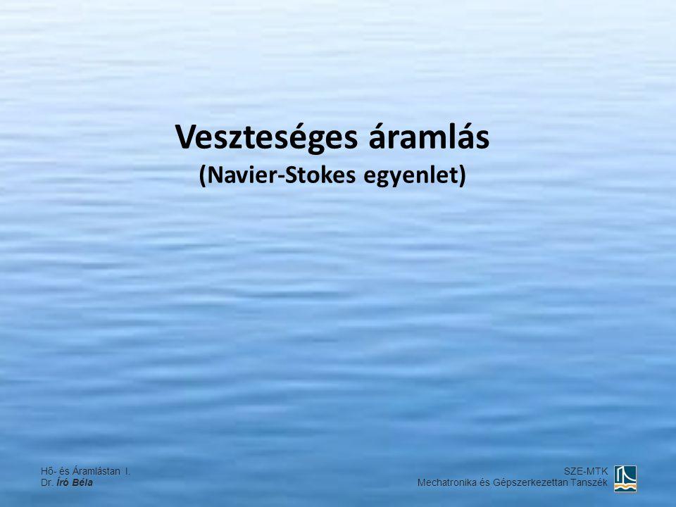 Veszteséges áramlás (Navier-Stokes egyenlet) Hő- és Áramlástan I. Dr. Író Béla SZE-MTK Mechatronika és Gépszerkezettan Tanszék