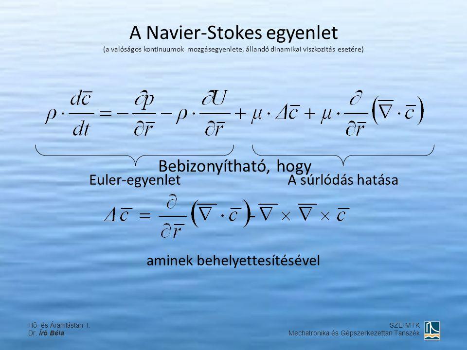 A Navier-Stokes egyenlet (a valóságos kontinuumok mozgásegyenlete, állandó dinamikai viszkozitás esetére) Euler-egyenletA súrlódás hatása Bebizonyítha