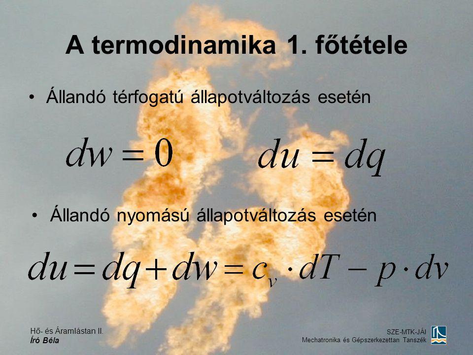 Hő- és Áramlástan II. Író Béla SZE-MTK-JÁI Mechatronika és Gépszerkezettan Tanszék A termodinamika 1. főtétele Állandó térfogatú állapotváltozás eseté