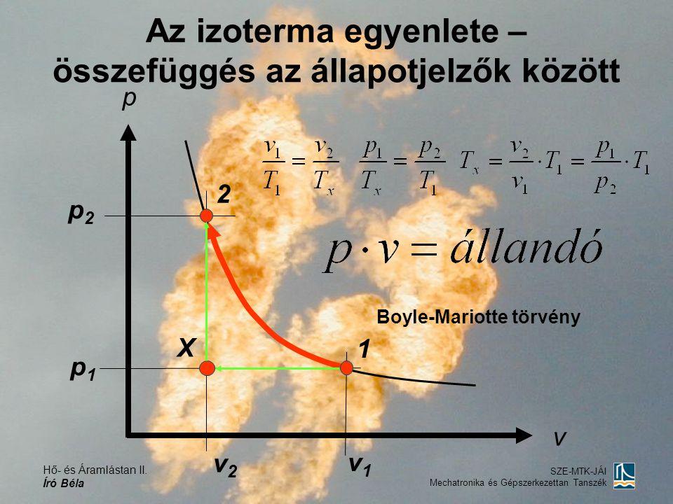 Hő- és Áramlástan II. Író Béla SZE-MTK-JÁI Mechatronika és Gépszerkezettan Tanszék Az izoterma egyenlete – összefüggés az állapotjelzők között X Boyle