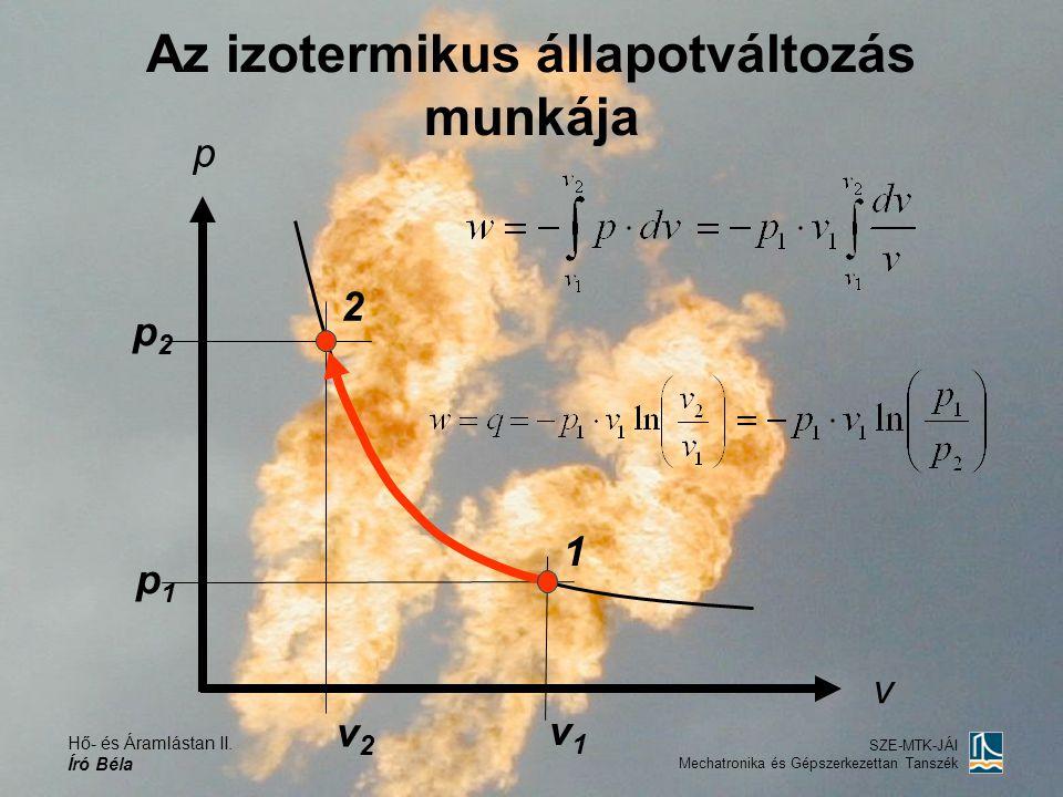Hő- és Áramlástan II. Író Béla SZE-MTK-JÁI Mechatronika és Gépszerkezettan Tanszék Az izotermikus állapotváltozás munkája p v 1 2 p2p2 p1p1 v1v1 v2v2