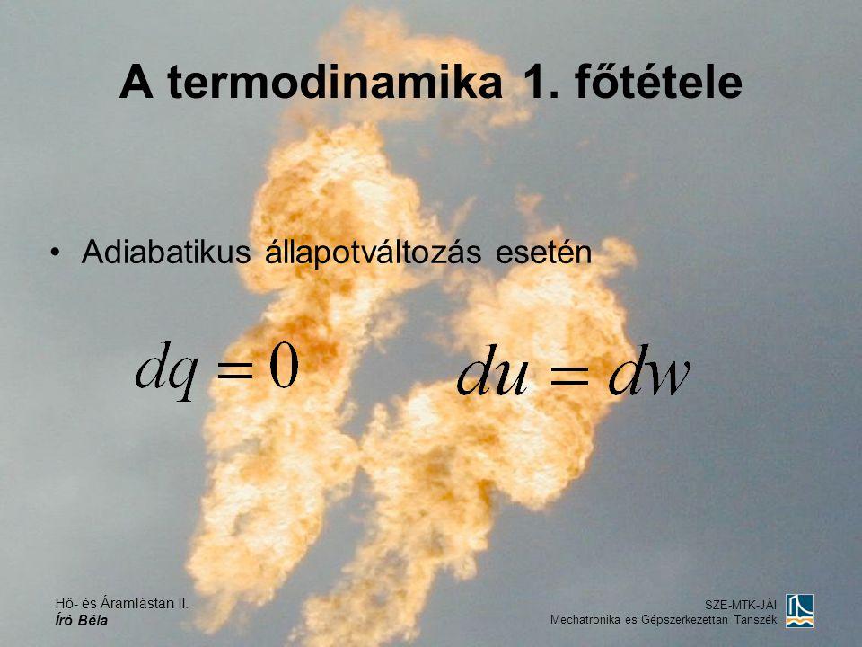 Hő- és Áramlástan II. Író Béla SZE-MTK-JÁI Mechatronika és Gépszerkezettan Tanszék A termodinamika 1. főtétele Adiabatikus állapotváltozás esetén