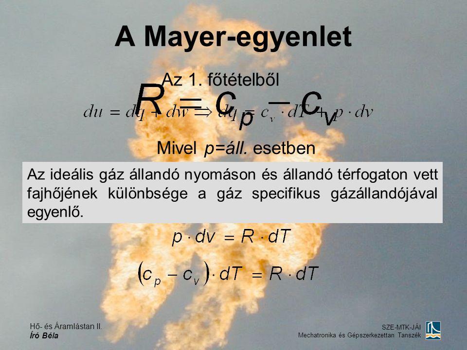 Hő- és Áramlástan II. Író Béla SZE-MTK-JÁI Mechatronika és Gépszerkezettan Tanszék A Mayer-egyenlet Az 1. főtételből Mivel p=áll. esetben és az általá