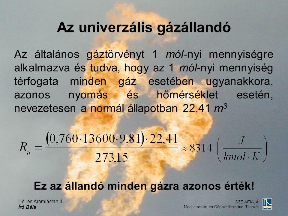 Hő- és Áramlástan II. Író Béla SZE-MTK-JÁI Mechatronika és Gépszerkezettan Tanszék Az univerzális gázállandó Az általános gáztörvényt 1 mól-nyi mennyi