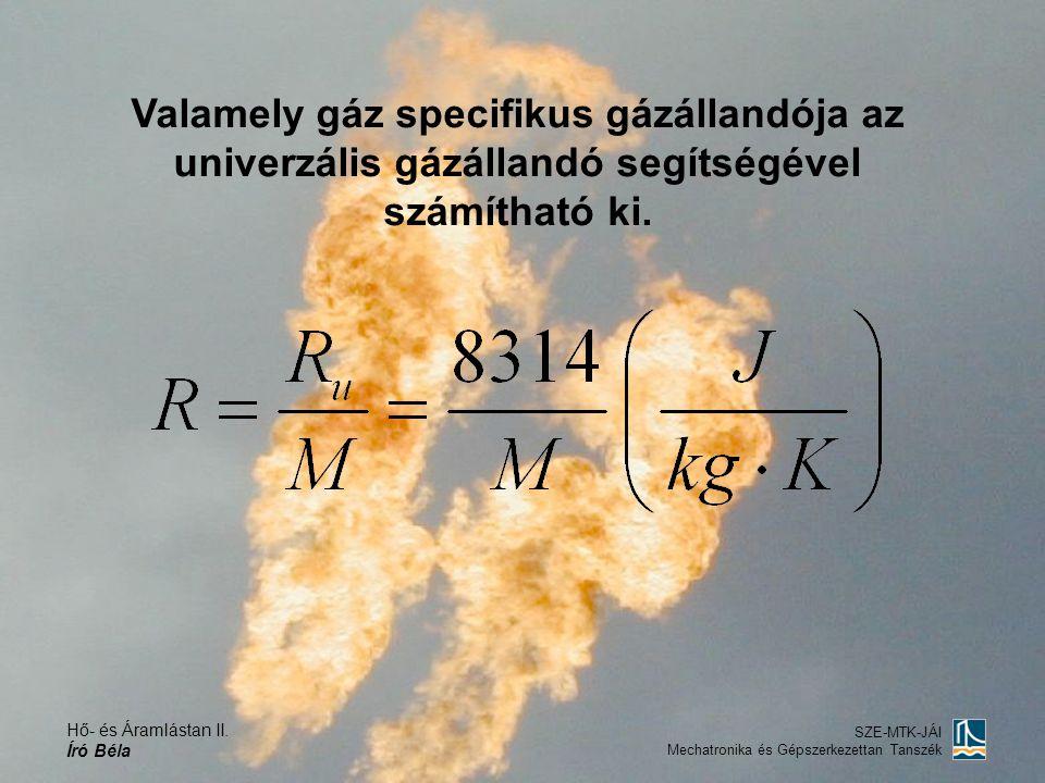Hő- és Áramlástan II. Író Béla SZE-MTK-JÁI Mechatronika és Gépszerkezettan Tanszék Valamely gáz specifikus gázállandója az univerzális gázállandó segí