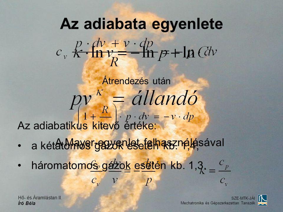 Hő- és Áramlástan II. Író Béla SZE-MTK-JÁI Mechatronika és Gépszerkezettan Tanszék A Mayer-egyenlet felhasználásával Az adiabatikus kitevő értéke: a k