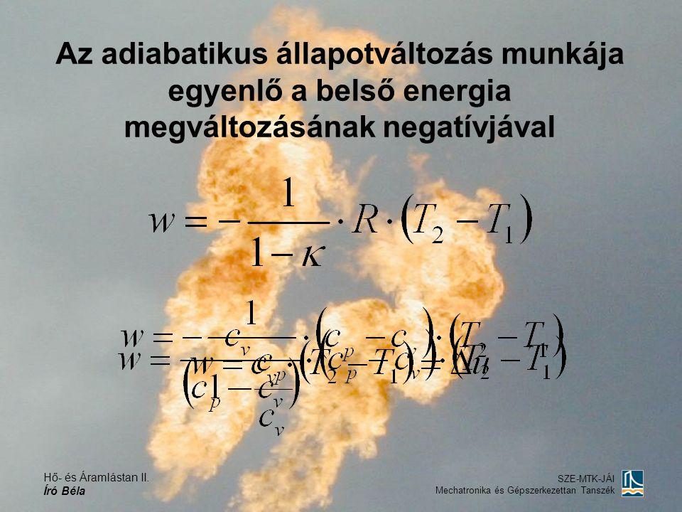 Hő- és Áramlástan II. Író Béla SZE-MTK-JÁI Mechatronika és Gépszerkezettan Tanszék Az adiabatikus állapotváltozás munkája egyenlő a belső energia megv