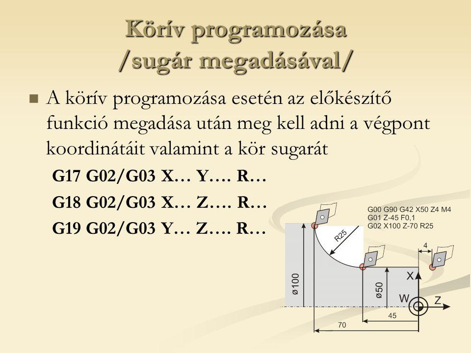 Körív programozása /sugár megadásával/ A körív programozása esetén az előkészítő funkció megadása után meg kell adni a végpont koordinátáit valamint a kör sugarát G17 G02/G03 X… Y….
