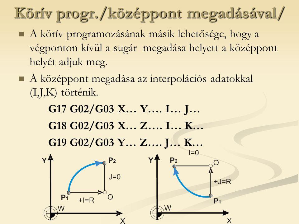 Körív progr./középpont megadásával/ A körív programozásának másik lehetősége, hogy a végponton kívül a sugár megadása helyett a középpont helyét adjuk meg.