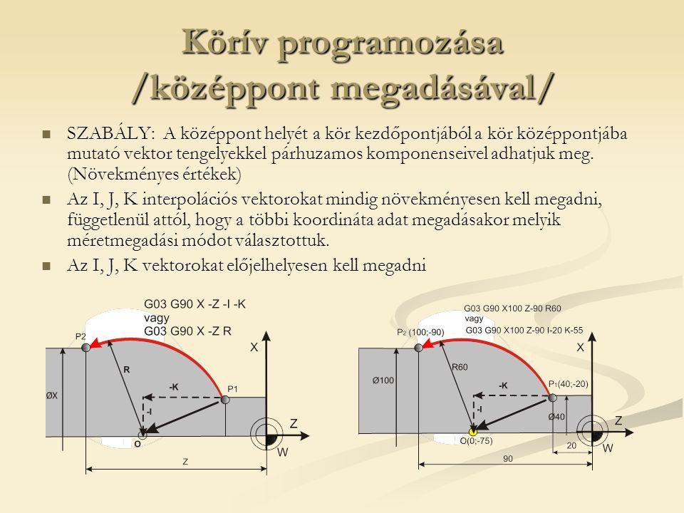 Körív programozása /középpont megadásával/ SZABÁLY: A középpont helyét a kör kezdőpontjából a kör középpontjába mutató vektor tengelyekkel párhuzamos komponenseivel adhatjuk meg.