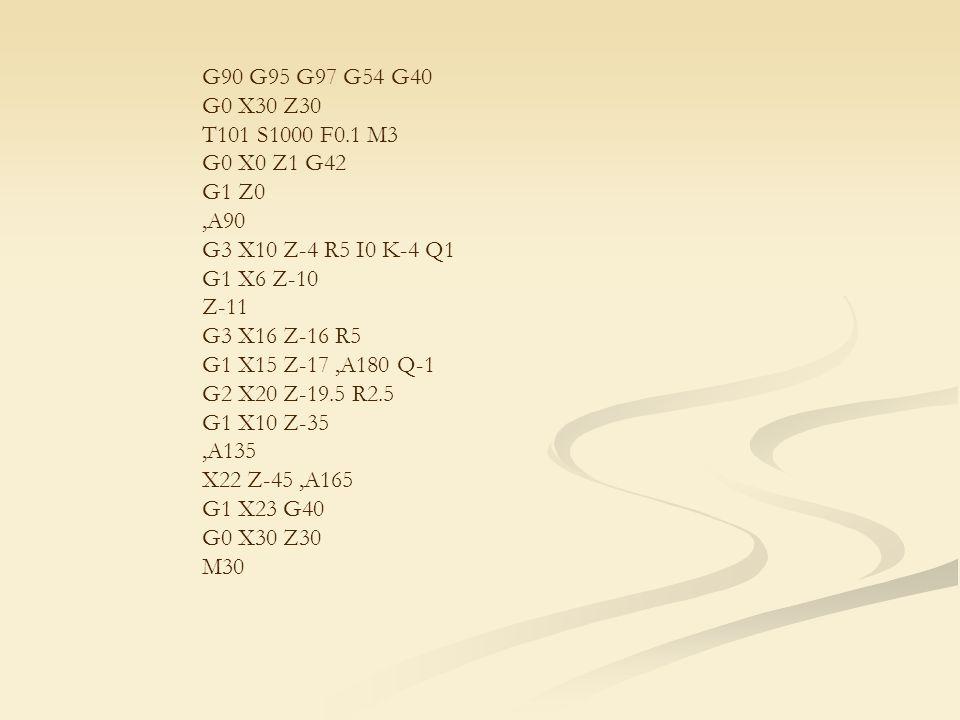 G90 G95 G97 G54 G40 G0 X30 Z30 T101 S1000 F0.1 M3 G0 X0 Z1 G42 G1 Z0,A90 G3 X10 Z-4 R5 I0 K-4 Q1 G1 X6 Z-10 Z-11 G3 X16 Z-16 R5 G1 X15 Z-17,A180 Q-1 G2 X20 Z-19.5 R2.5 G1 X10 Z-35,A135 X22 Z-45,A165 G1 X23 G40 G0 X30 Z30 M30