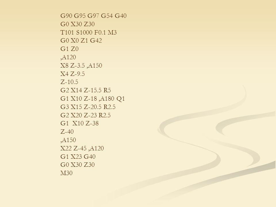 G90 G95 G97 G54 G40 G0 X30 Z30 T101 S1000 F0.1 M3 G0 X0 Z1 G42 G1 Z0,A120 X8 Z-3.5,A150 X4 Z-9.5 Z-10.5 G2 X14 Z-15.5 R5 G1 X10 Z-18,A180 Q1 G3 X15 Z-20.5 R2.5 G2 X20 Z-23 R2.5 G1 X10 Z-38 Z-40,A150 X22 Z-45,A120 G1 X23 G40 G0 X30 Z30 M30