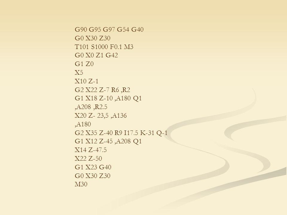 G90 G95 G97 G54 G40 G0 X30 Z30 T101 S1000 F0.1 M3 G0 X0 Z1 G42 G1 Z0 X5 X10 Z-1 G2 X22 Z-7 R6,R2 G1 X18 Z-10,A180 Q1,A208,R2.5 X20 Z- 23,5,A136,A180 G2 X35 Z-40 R9 I17.5 K-31 Q-1 G1 X12 Z-45,A208 Q1 X14 Z-47.5 X22 Z-50 G1 X23 G40 G0 X30 Z30 M30