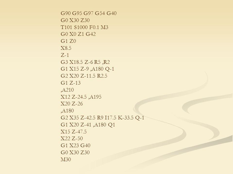 G90 G95 G97 G54 G40 G0 X30 Z30 T101 S1000 F0.1 M3 G0 X0 Z1 G42 G1 Z0 X8.5 Z-1 G3 X18.5 Z-6 R5,R2 G1 X15 Z-9,A180 Q-1 G2 X20 Z-11.5 R2.5 G1 Z-13,A210 X12 Z-24.5,A195 X20 Z-26,A180 G2 X35 Z-42.5 R9 I17.5 K-33.5 Q-1 G1 X20 Z-41,A180 Q1 X15 Z-47.5 X22 Z-50 G1 X23 G40 G0 X30 Z30 M30