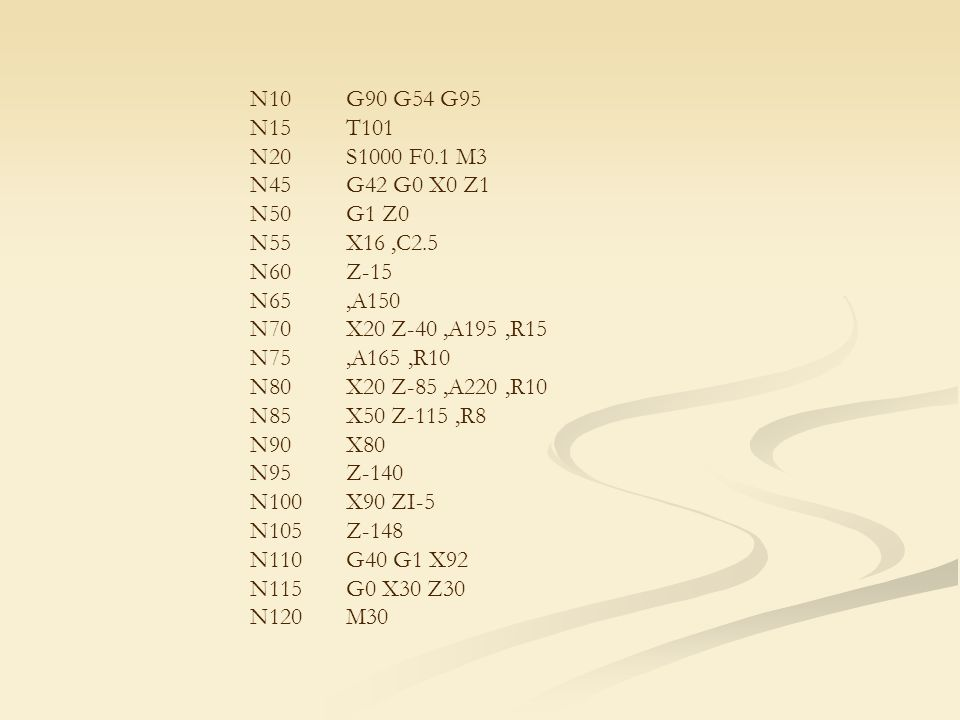 N10G90 G54 G95 N15T101 N20S1000 F0.1 M3 N45G42 G0 X0 Z1 N50G1 Z0 N55X16,C2.5 N60Z-15 N65,A150 N70X20 Z-40,A195,R15 N75,A165,R10 N80X20 Z-85,A220,R10 N85X50 Z-115,R8 N90X80 N95Z-140 N100X90 ZI-5 N105Z-148 N110G40 G1 X92 N115G0 X30 Z30 N120M30