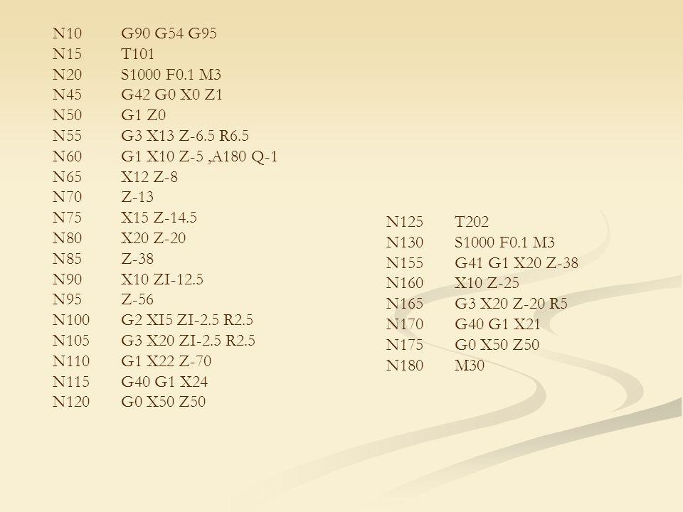 N10G90 G54 G95 N15T101 N20S1000 F0.1 M3 N45G42 G0 X0 Z1 N50G1 Z0 N55G3 X13 Z-6.5 R6.5 N60G1 X10 Z-5,A180 Q-1 N65X12 Z-8 N70Z-13 N75X15 Z-14.5 N80X20 Z-20 N85Z-38 N90X10 ZI-12.5 N95Z-56 N100G2 XI5 ZI-2.5 R2.5 N105G3 X20 ZI-2.5 R2.5 N110G1 X22 Z-70 N115G40 G1 X24 N120G0 X50 Z50 N125T202 N130S1000 F0.1 M3 N155G41 G1 X20 Z-38 N160X10 Z-25 N165G3 X20 Z-20 R5 N170G40 G1 X21 N175G0 X50 Z50 N180M30