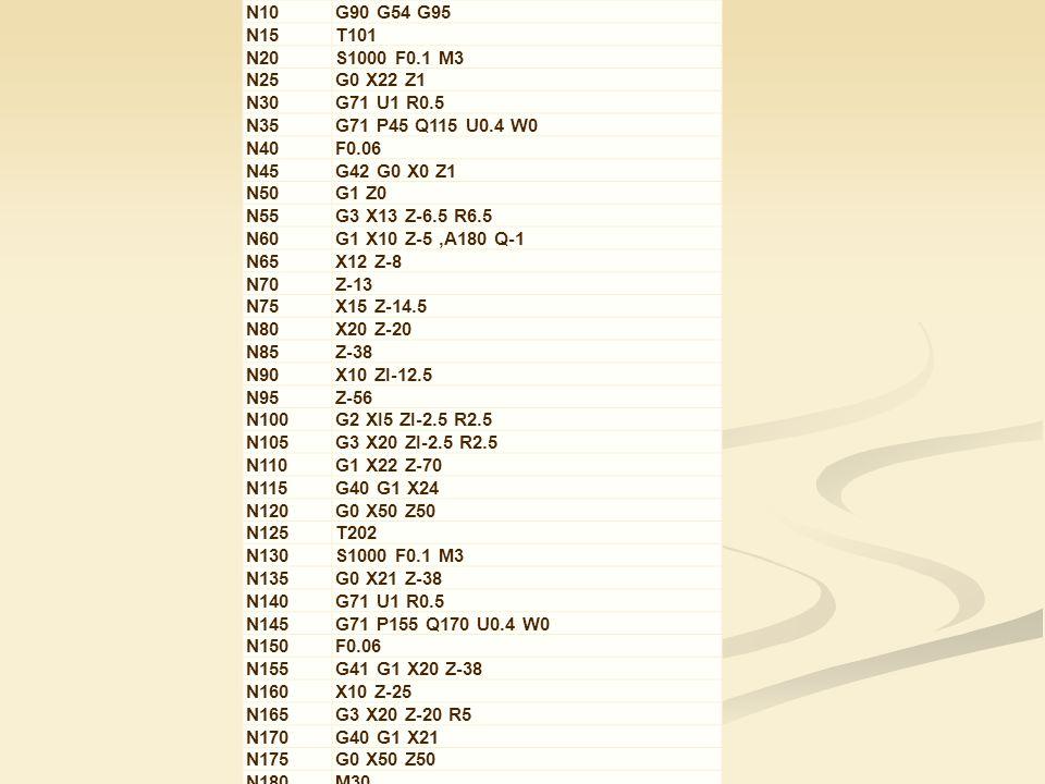 N10 G90 G54 G95 N15 T101 N20 S1000 F0.1 M3 N25 G0 X22 Z1 N30 G71 U1 R0.5 N35 G71 P45 Q115 U0.4 W0 N40 F0.06 N45 G42 G0 X0 Z1 N50 G1 Z0 N55 G3 X13 Z-6.5 R6.5 N60 G1 X10 Z-5,A180 Q-1 N65 X12 Z-8 N70 Z-13 N75 X15 Z-14.5 N80 X20 Z-20 N85 Z-38 N90 X10 ZI-12.5 N95 Z-56 N100 G2 XI5 ZI-2.5 R2.5 N105 G3 X20 ZI-2.5 R2.5 N110 G1 X22 Z-70 N115 G40 G1 X24 N120 G0 X50 Z50 N125 T202 N130 S1000 F0.1 M3 N135 G0 X21 Z-38 N140 G71 U1 R0.5 N145 G71 P155 Q170 U0.4 W0 N150 F0.06 N155 G41 G1 X20 Z-38 N160 X10 Z-25 N165 G3 X20 Z-20 R5 N170 G40 G1 X21 N175 G0 X50 Z50 N180 M30