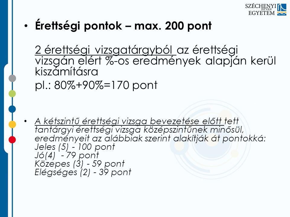 Érettségi pontok – max. 200 pont 2 érettségi vizsgatárgyból az érettségi vizsgán elért %-os eredmények alapján kerül kiszámításra pl.: 80%+90%=170 pon