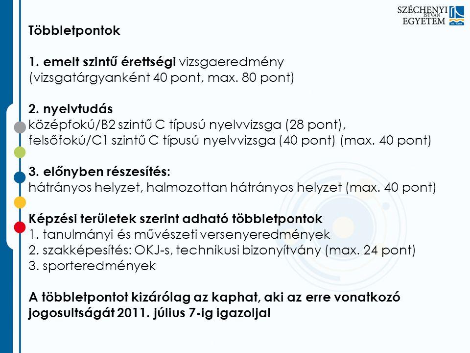 Többletpontok 1. emelt szintű érettségi vizsgaeredmény (vizsgatárgyanként 40 pont, max. 80 pont) 2. nyelvtudás középfokú/B2 szintű C típusú nyelvvizsg