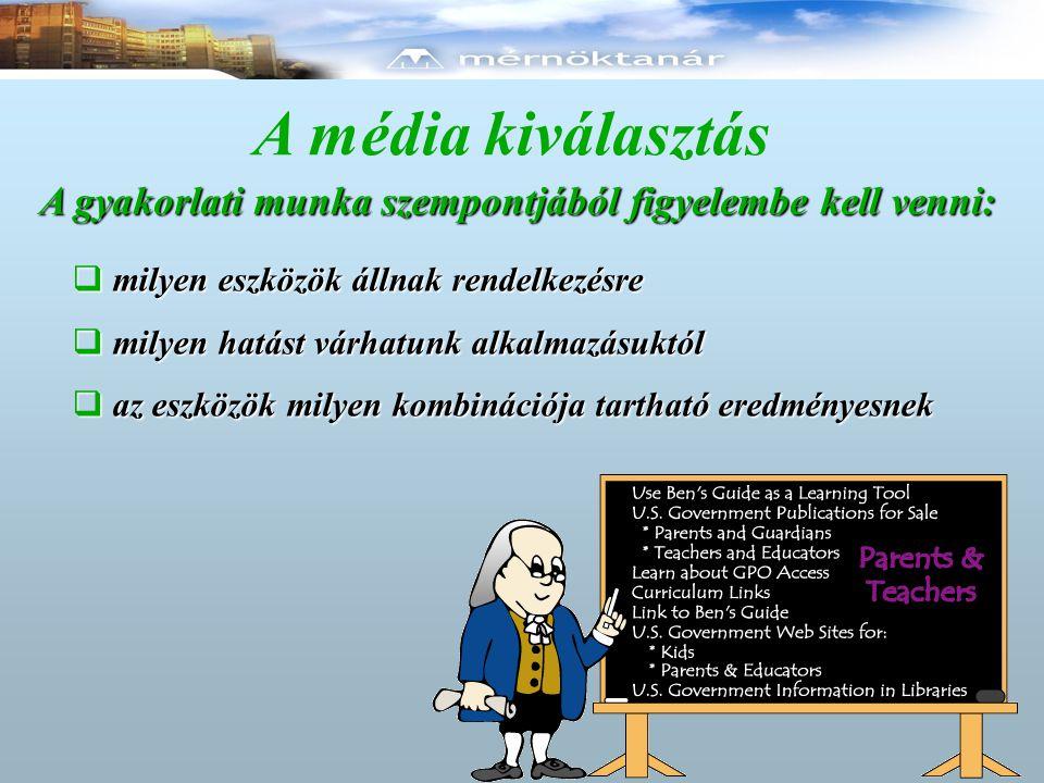 A média – kiválasztás szempontjai  eredményes kommunikáció  emberi tényezők  gyakorlati tényezők  gazdaságossági tényezők