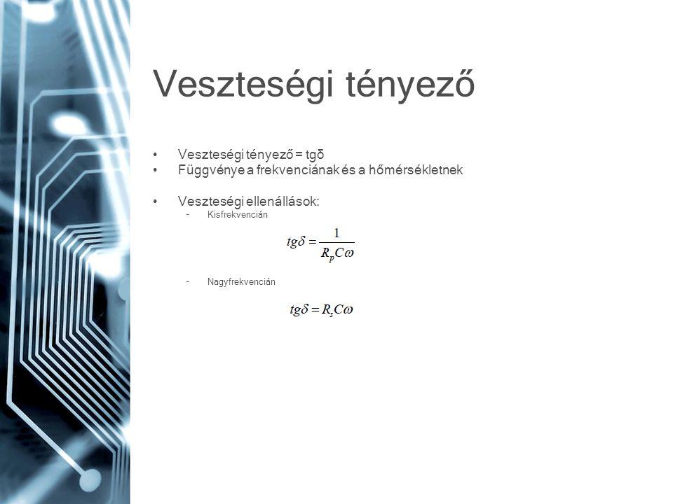 Veszteségi tényező Veszteségi tényező = tgδ Függvénye a frekvenciának és a hőmérsékletnek Veszteségi ellenállások: –Kisfrekvencián –Nagyfrekvencián