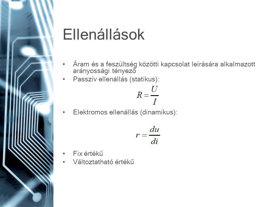 Polarizált kondenzátotok Száraz vagy nedves dielektrikumú A dielektrikum anyaga lehet: –Alumíniumoxid –Tantálpentoxid Alumíniumoxid kondenzátor: –Az egyik elektróda alumínium fólia –Megnövelt felületű alumíniumoxid szigetelés (rendkívül jó szigetelő) –Másik elektróda folyékony elektrolit –Veszteségi tényező rossz –Szivárgó áram jelentős –Nagy kapacitás –Alacsony élettartam Tantálpentoxid kondenzátor: –Kis méretben jelentős kapacitás –Stabil kapacitás –Széles hőmérsékleti tartomány –Kis mértékű fordított polaritást is elvisel