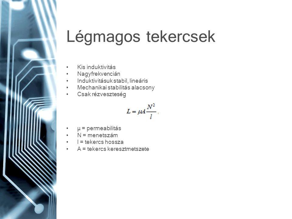 Légmagos tekercsek Kis induktivitás Nagyfrekvencián Induktivitásuk stabil, lineáris Mechanikai stabilitás alacsony Csak rézveszteség µ = permeabilitás