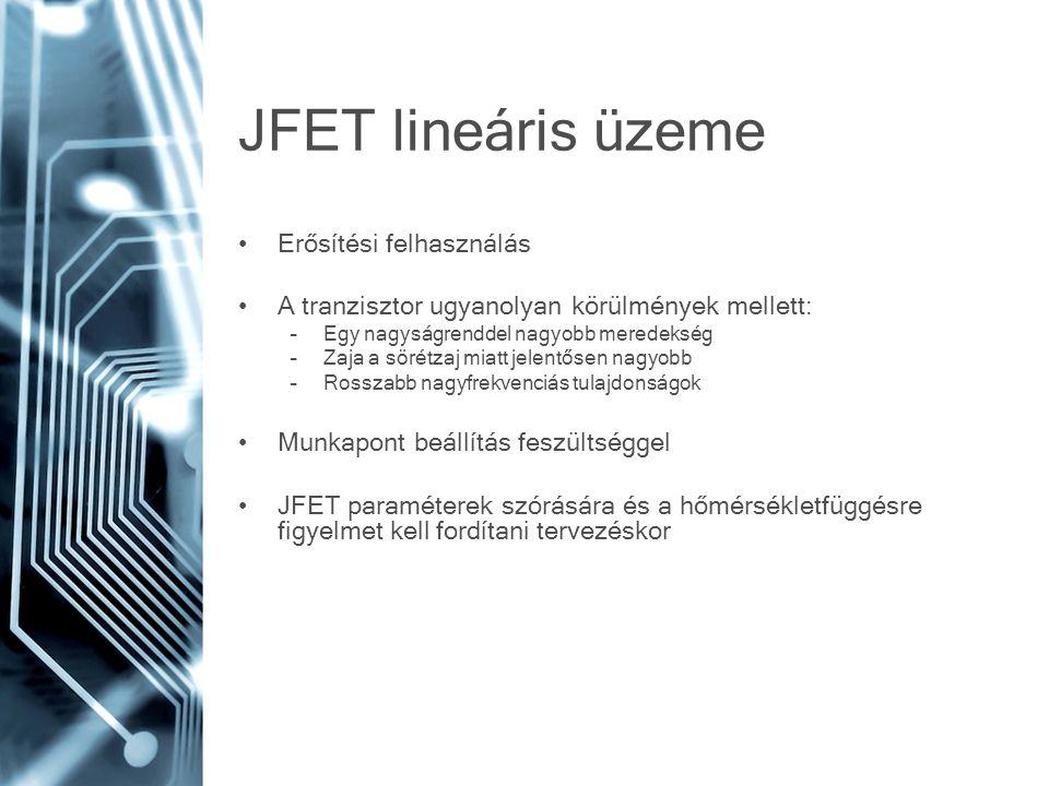 JFET lineáris üzeme Erősítési felhasználás A tranzisztor ugyanolyan körülmények mellett: –Egy nagyságrenddel nagyobb meredekség –Zaja a sörétzaj miatt