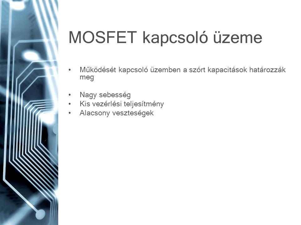 MOSFET kapcsoló üzeme Működését kapcsoló üzemben a szórt kapacitások határozzák meg Nagy sebesség Kis vezérlési teljesítmény Alacsony veszteségek