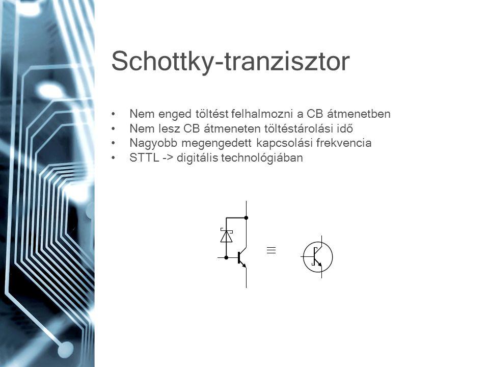 Schottky-tranzisztor Nem enged töltést felhalmozni a CB átmenetben Nem lesz CB átmeneten töltéstárolási idő Nagyobb megengedett kapcsolási frekvencia