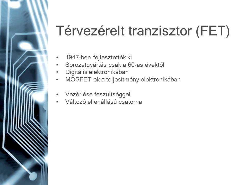 Térvezérelt tranzisztor (FET) 1947-ben fejlesztették ki Sorozatgyártás csak a 60-as évektől Digitális elektronikában MOSFET-ek a teljesítmény elektron