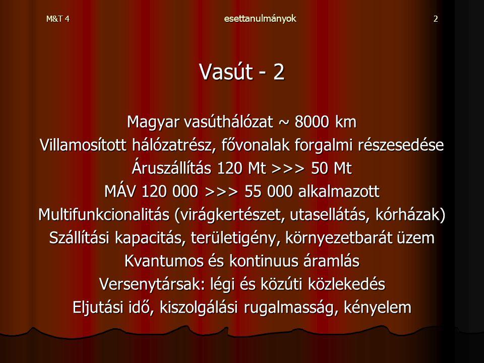 M&T 4 esettanulmányok 2 Vasút - 2 Magyar vasúthálózat ~ 8000 km Villamosított hálózatrész, fővonalak forgalmi részesedése Áruszállítás 120 Mt >>> 50 M