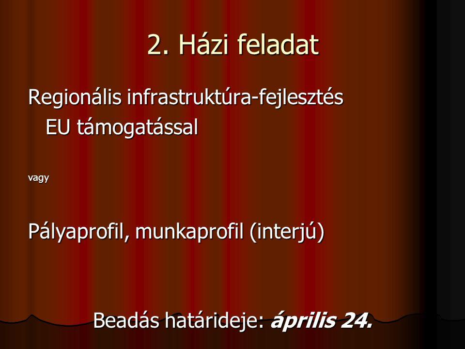 2. Házi feladat Regionális infrastruktúra-fejlesztés EU támogatással vagy Pályaprofil, munkaprofil (interjú) Beadás határideje: április 24.