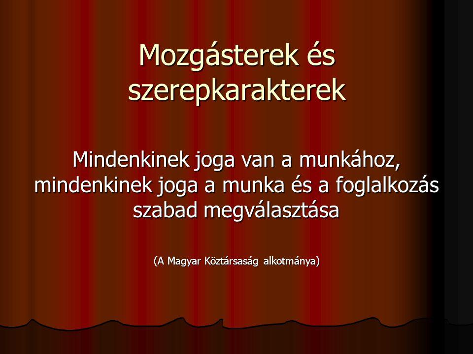 Mozgásterek és szerepkarakterek Mindenkinek joga van a munkához, mindenkinek joga a munka és a foglalkozás szabad megválasztása (A Magyar Köztársaság