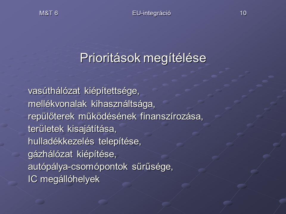 M&T 6 EU-integráció 10 Prioritások megítélése vasúthálózat kiépítettsége, mellékvonalak kihasználtsága, repülőterek működésének finanszírozása, terüle