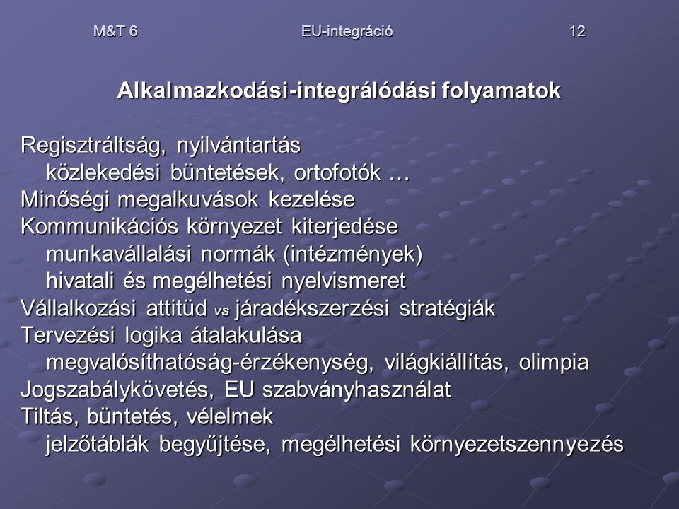 M&T 6 EU-integráció 12 Alkalmazkodási-integrálódási folyamatok Regisztráltság, nyilvántartás közlekedési büntetések, ortofotók … Minőségi megalkuvások