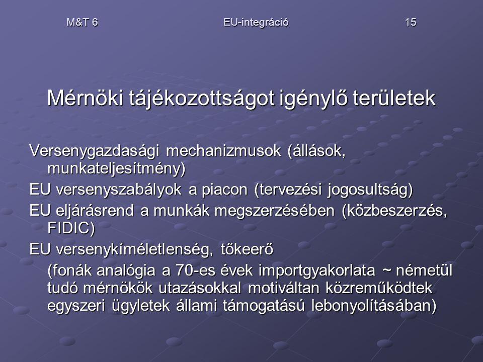 M&T 6 EU-integráció 15 Mérnöki tájékozottságot igénylő területek Versenygazdasági mechanizmusok (állások, munkateljesítmény) EU versenyszabályok a pia