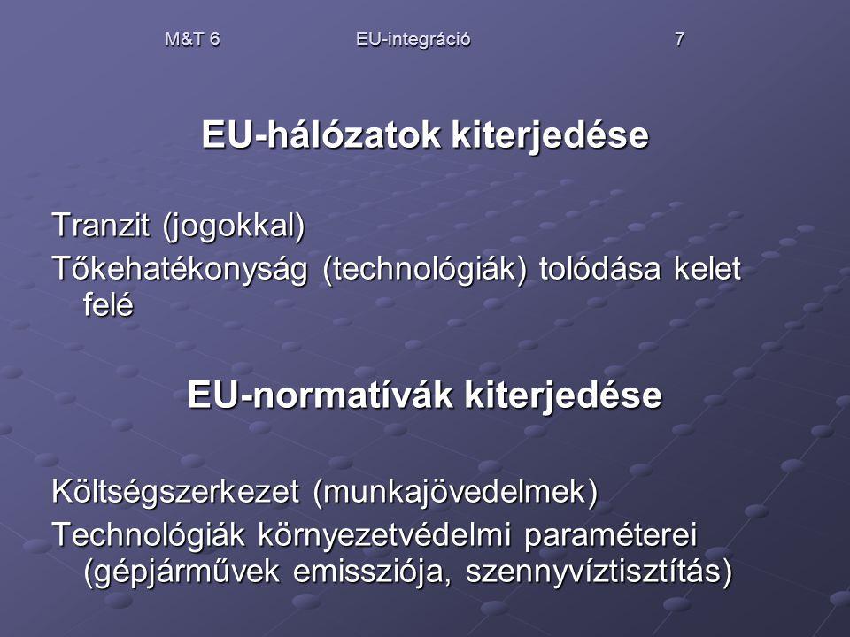 M&T 6 EU-integráció 7 EU-hálózatok kiterjedése Tranzit (jogokkal) Tőkehatékonyság (technológiák) tolódása kelet felé EU-normatívák kiterjedése Költség