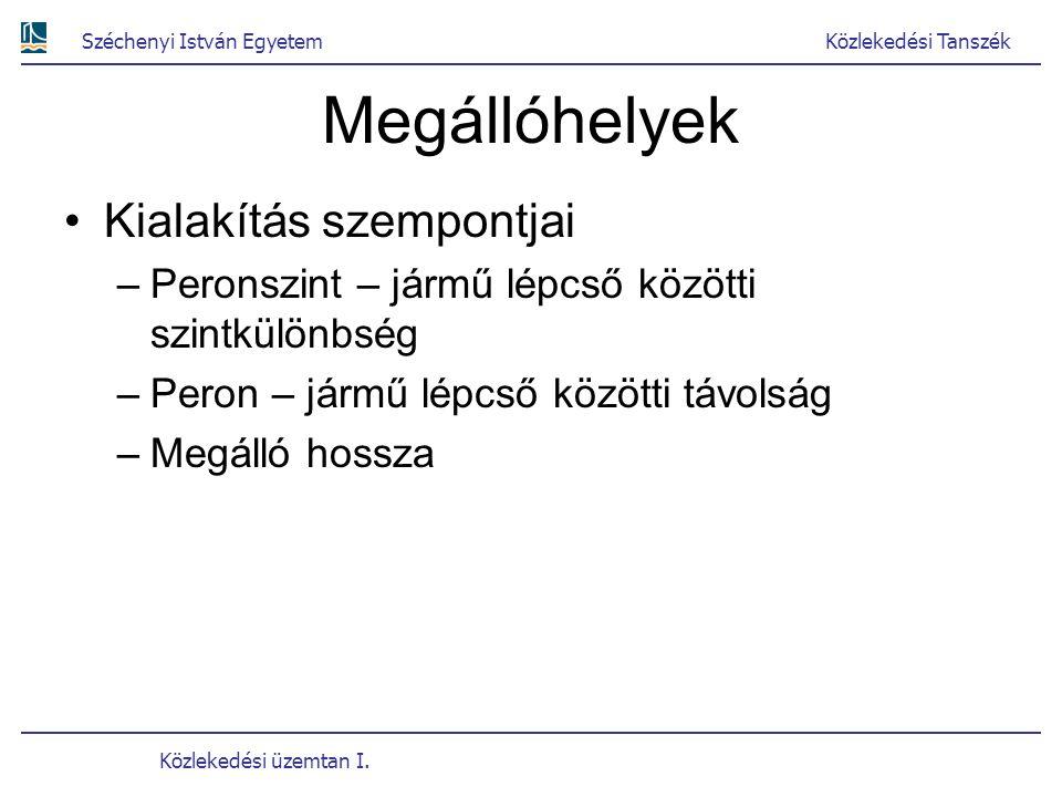 Széchenyi István EgyetemKözlekedési Tanszék Közlekedési üzemtan I. Megállóhelyek Kialakítás szempontjai –Peronszint – jármű lépcső közötti szintkülönb